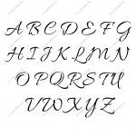 Connected Cursive Uppercase & Lowercase Letter Stencils A Z 1/4 To   Free Printable Calligraphy Letter Stencils