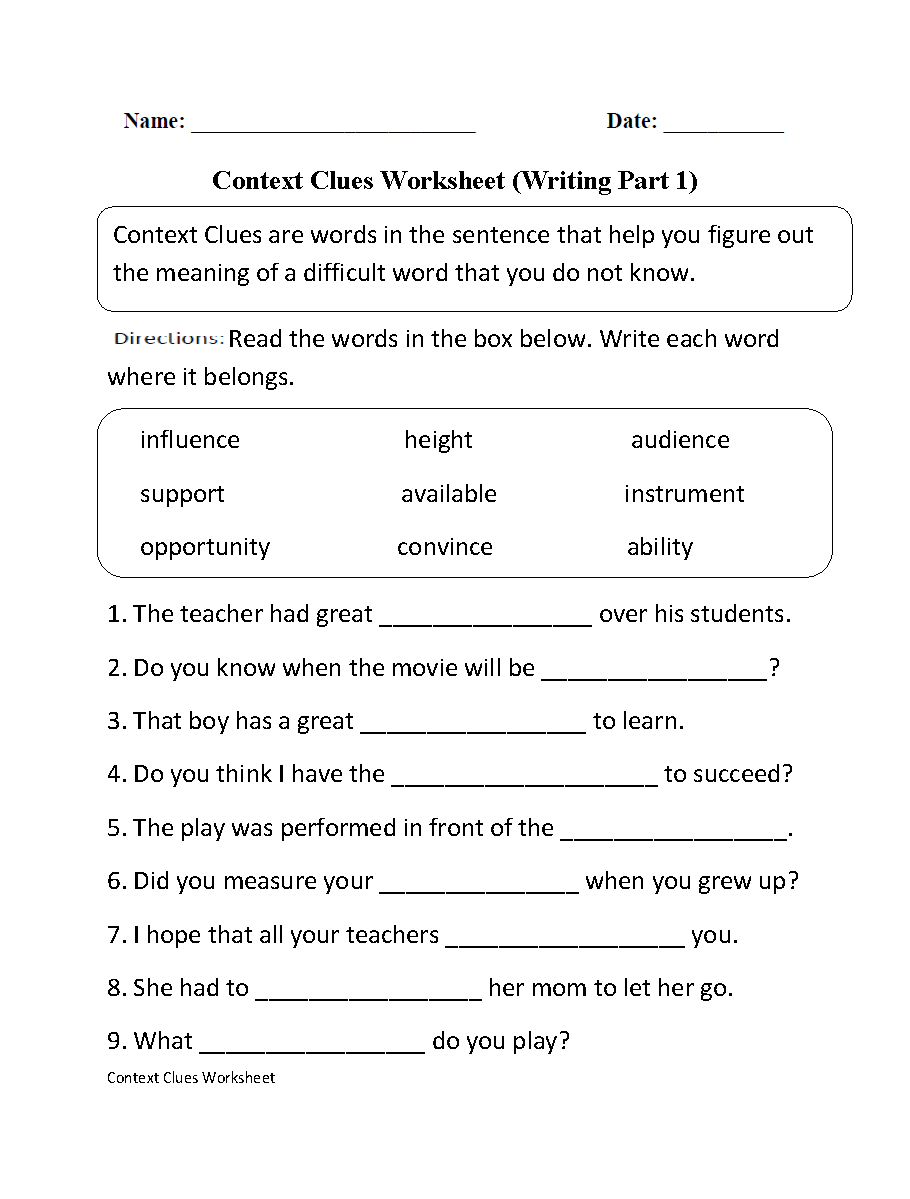 Context Clues Worksheet Writing Part 1 Intermediate--Free Worksheets - 6Th Grade Writing Worksheets Printable Free