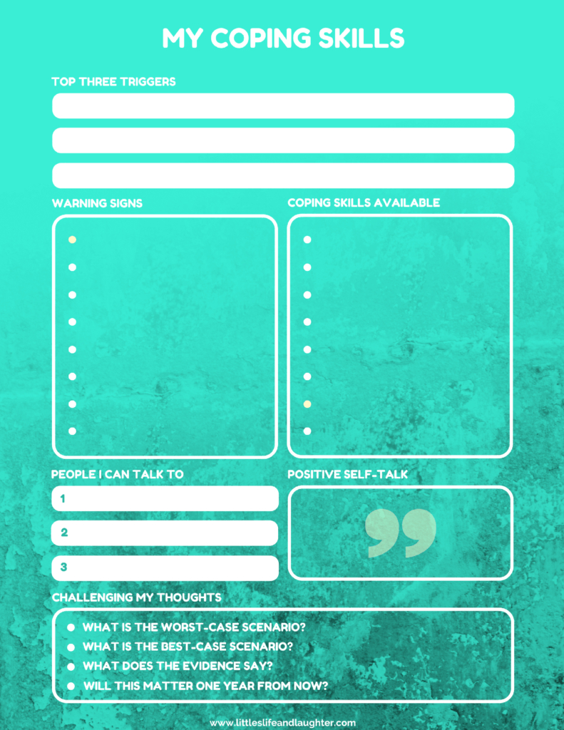 Coping Skills Worksheet For Kids   Counseling For Young Adults - Free Printable Coping Skills Worksheets For Adults