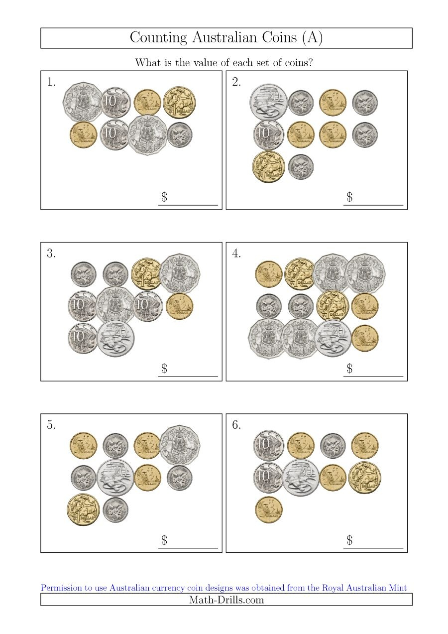 Counting Australian Coins (A) - Free Printable Money Worksheets Australia