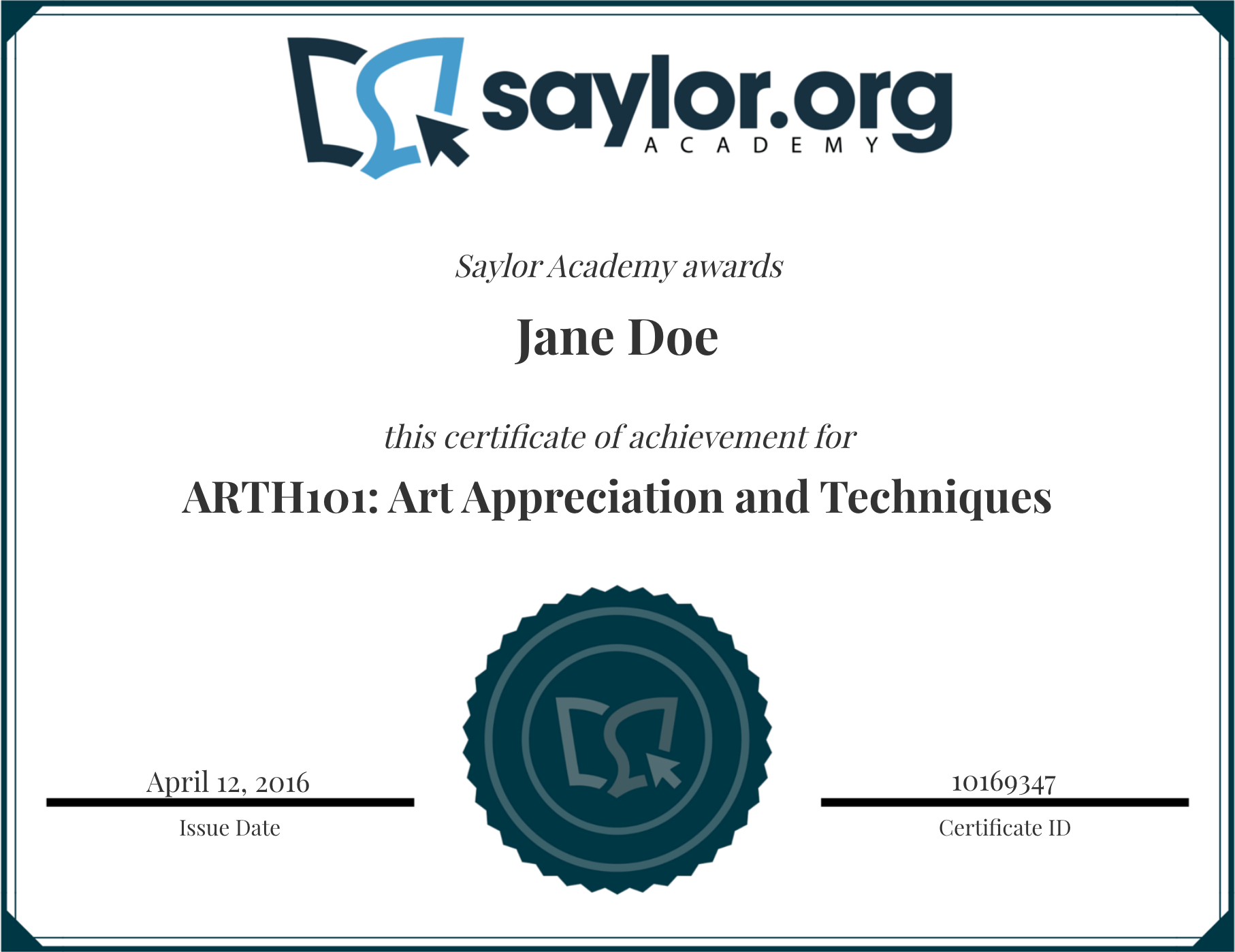Course Completion Certificates | Saylor Academy - Free Online Courses With Printable Certificates