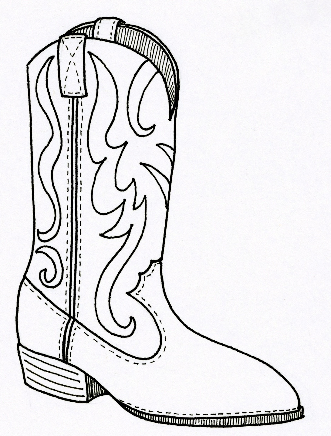 Cowgirl Boots Coloring Pages. Boot Zum Ausmalen Schnelles Boot - Free Printable Cowboy Boot Stencil