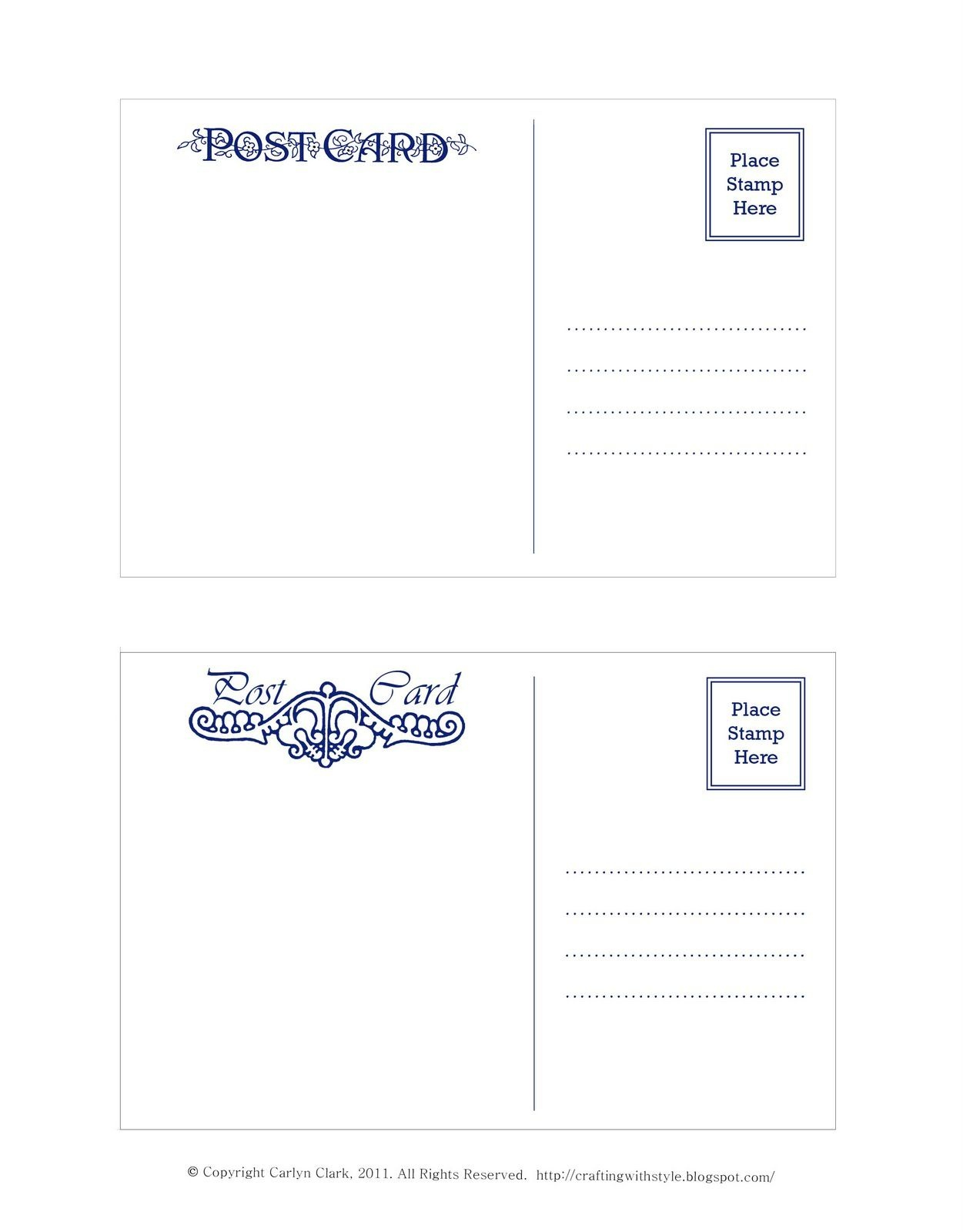 Crafting With Style: Free Postcard Templates | Postcards | Postcard - Free Blank Printable Postcards