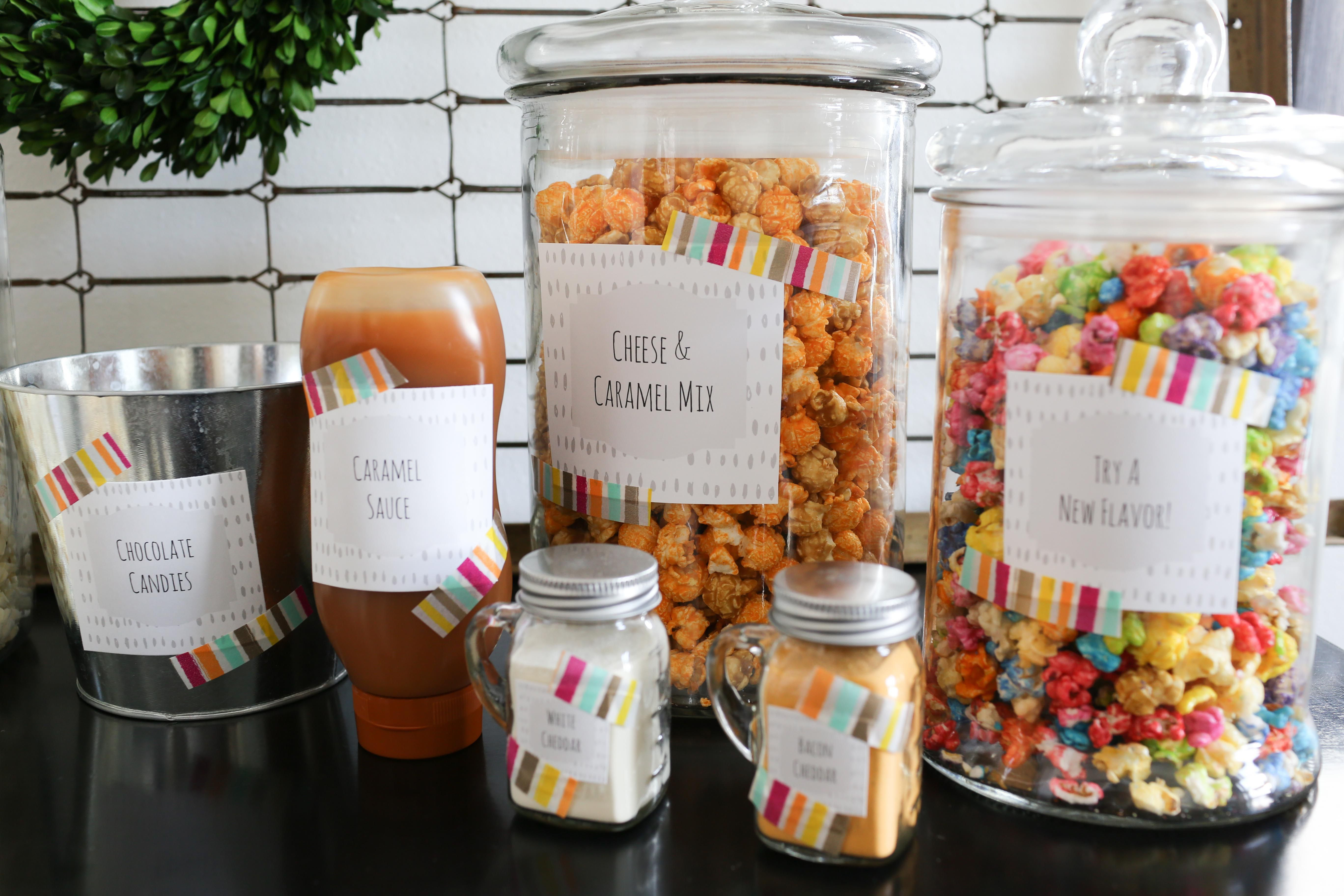 Create Your Own Popcorn Bar - With Free Printables For Labeling - Free Printable Popcorn Bar Labels