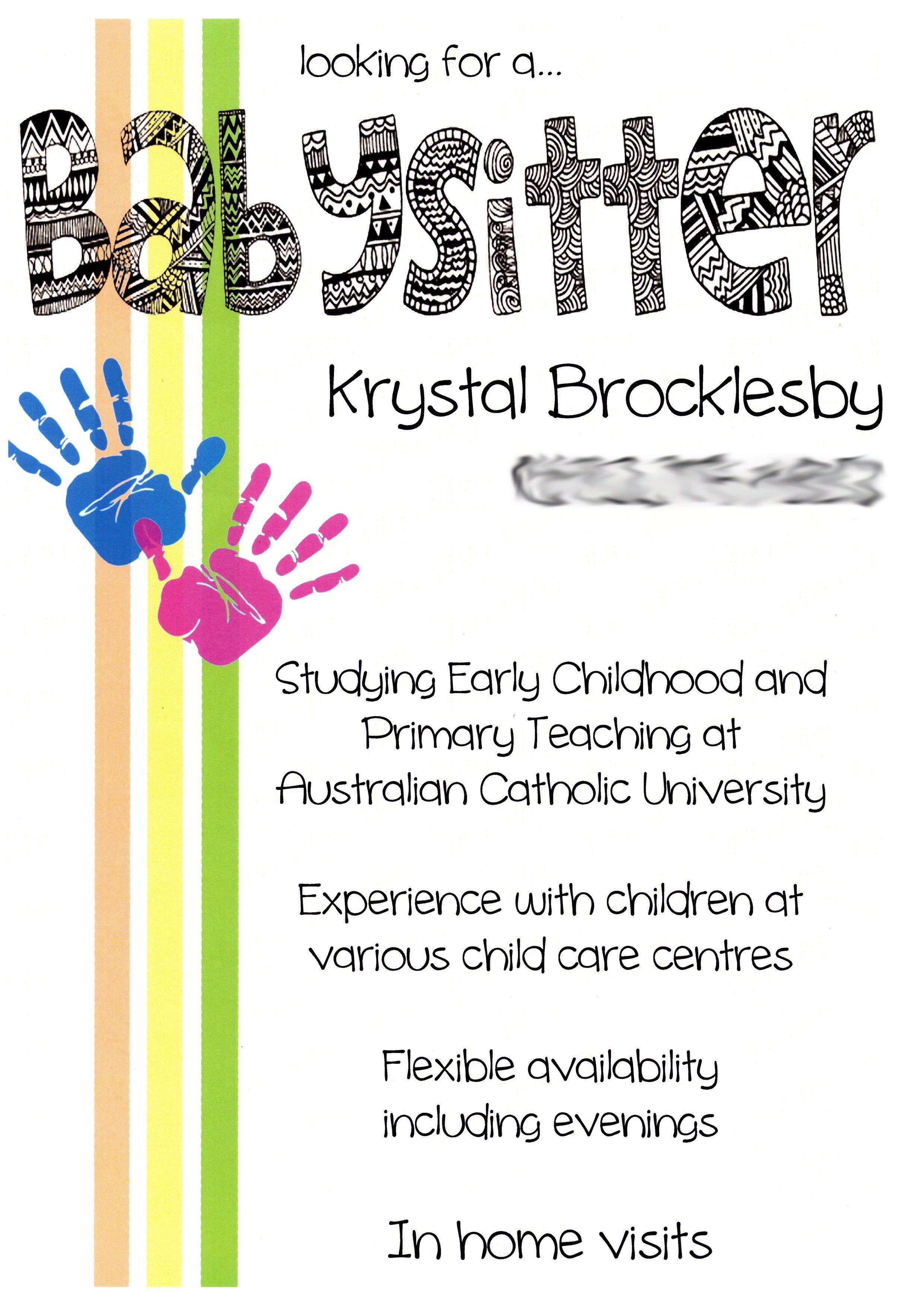 Creative, Cute Babysitting Flyers | Babysitting Flyers | Babysitting - Free Printable Daycare Flyers