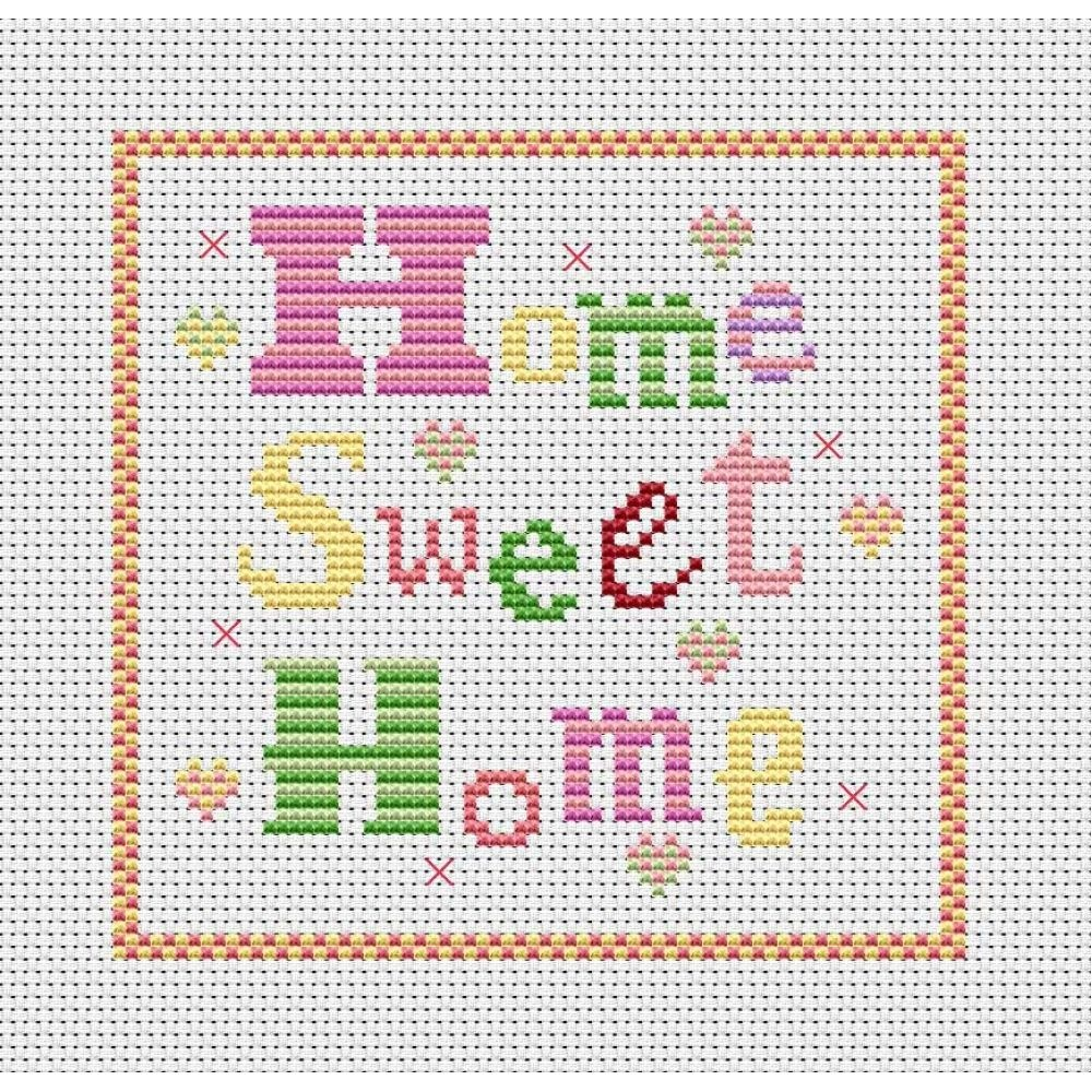 Cross Stitch Patterns Free Printable | Home Sweet Home Free Chart - Free Printable Modern Cross Stitch Patterns