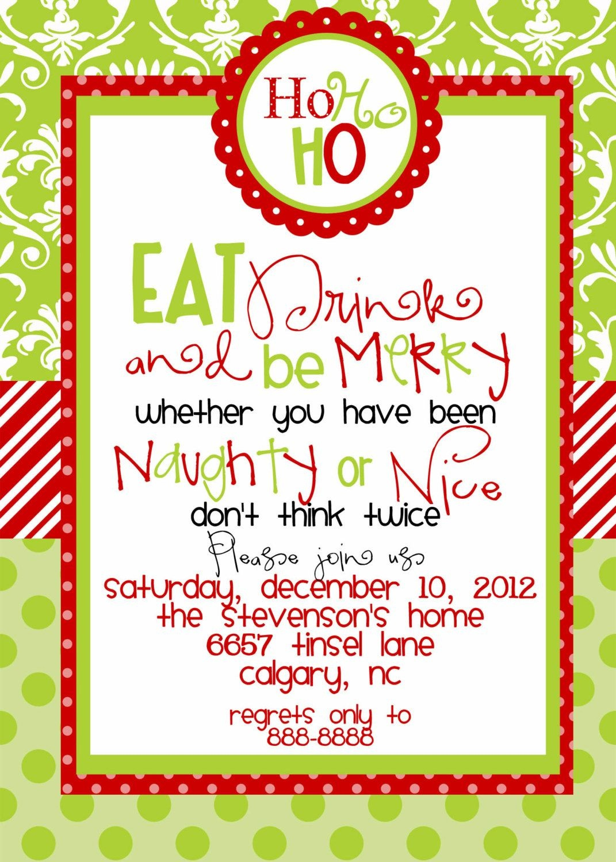 Custom Designed Christmas Party Invitations Eat Drink And Be Merry - Christmas Party Invitation Templates Free Printable