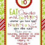 Custom Designed Christmas Party Invitations Eat Drink And Be Merry   Free Printable Personalized Christmas Invitations