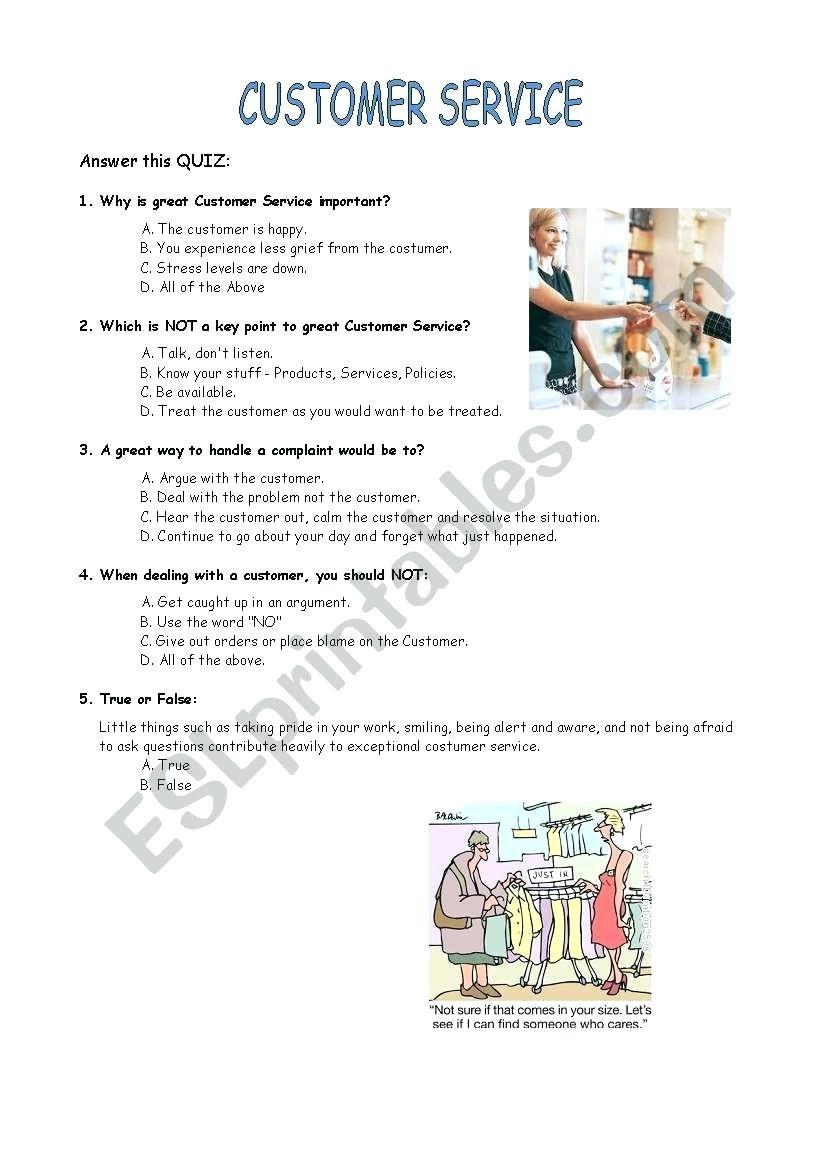 Customer Service Worksheets Customer Service Quiz Worksheet Free - Free Printable Customer Service Worksheets