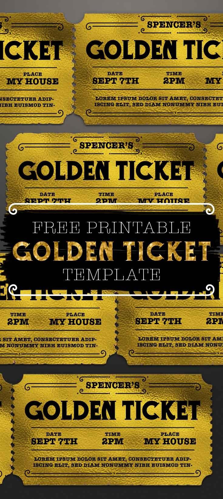 Customizable Golden Ticket Template - Free Printables Online - Golden Ticket Printable Free