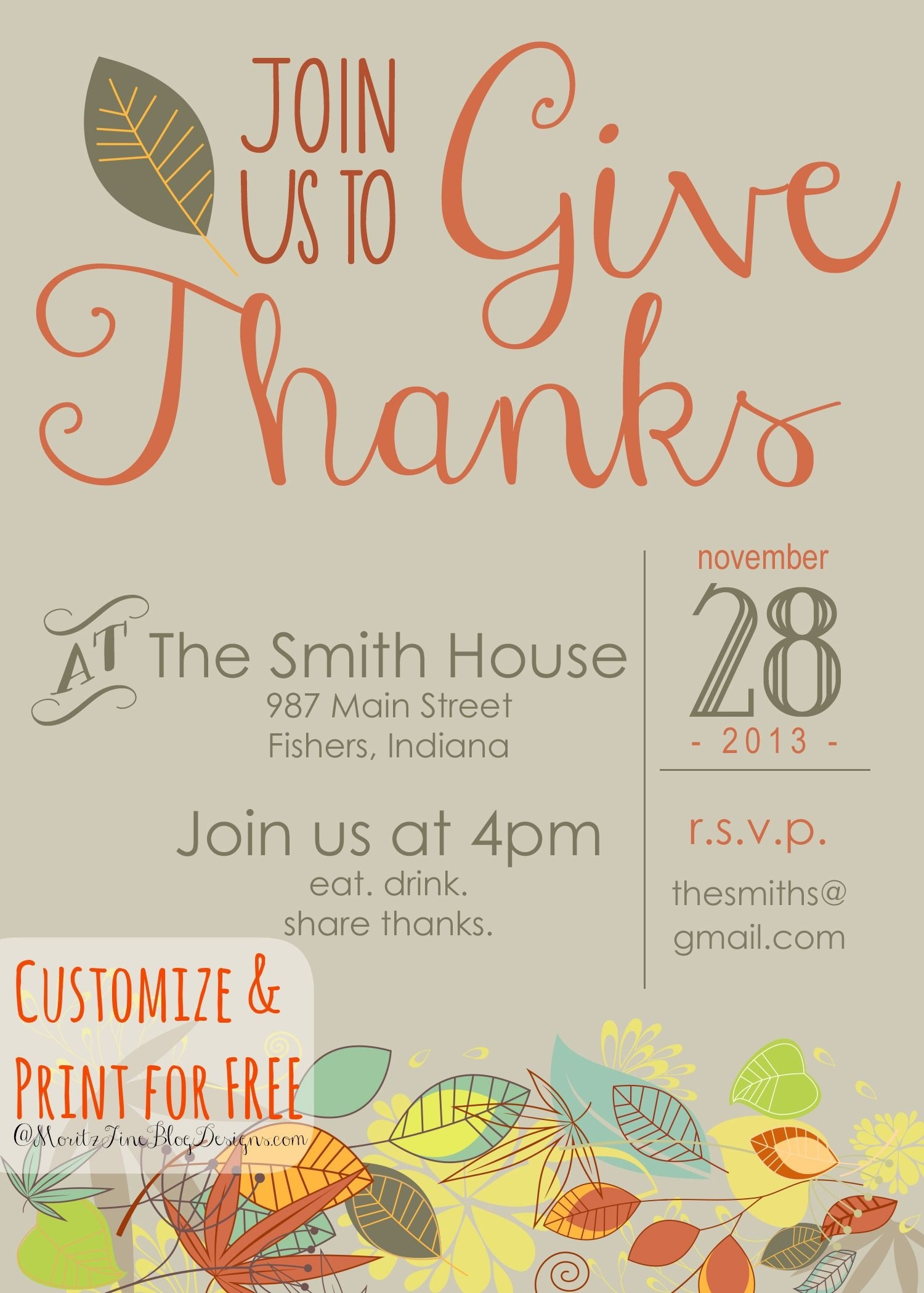 Customizable Thanksgiving Invitation | Recipe & Holiday Favorites - Free Printable Thanksgiving Dinner Invitation Templates