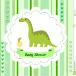 Cute Card Template Of A Baby Shower Invitation With A Dinosaur Stock   Free Printable Dinosaur Baby Shower Invitations