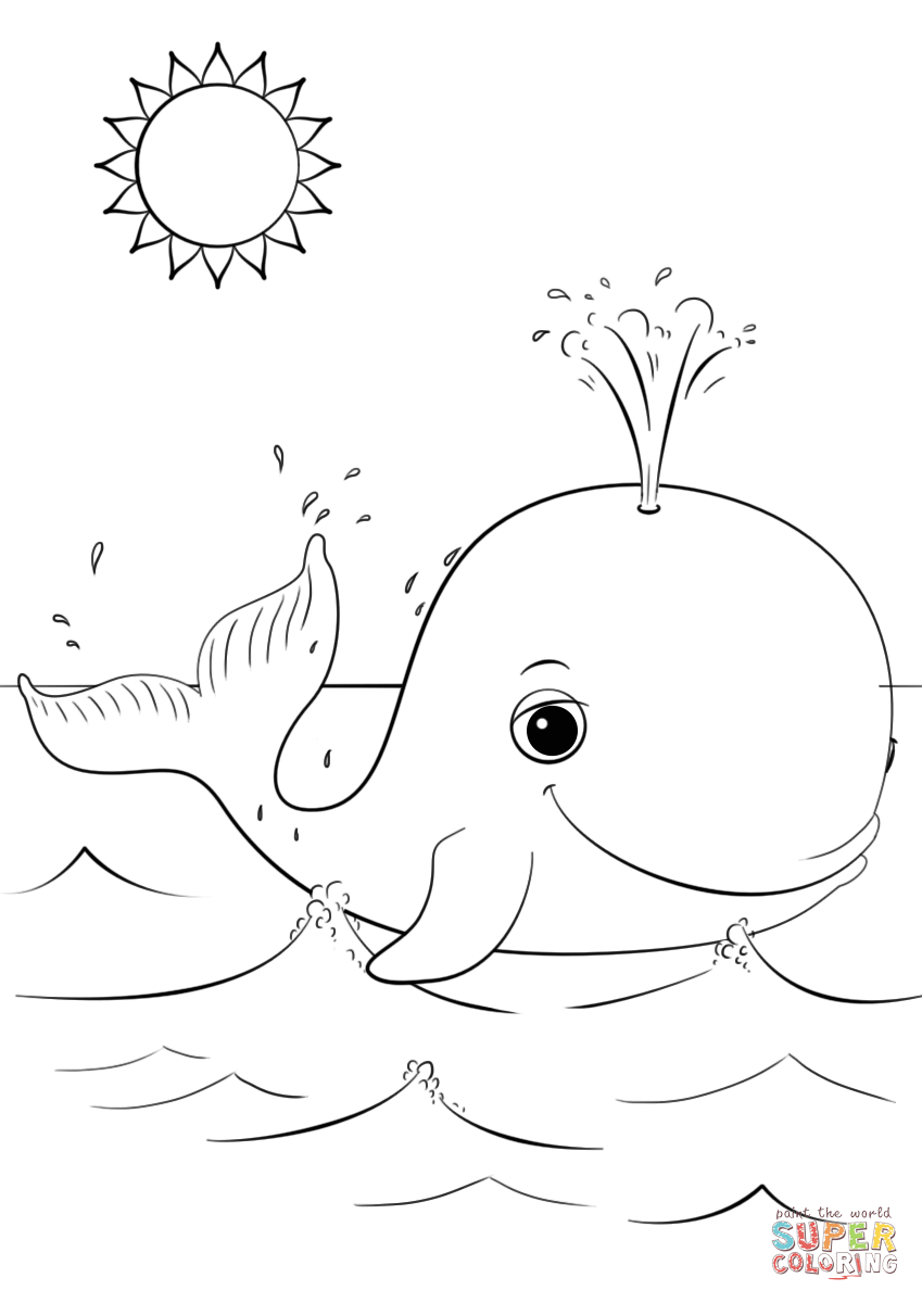 Cute Cartoon Whale Coloring Page | Free Printable Coloring Pages - Free Printable Whale Coloring Pages