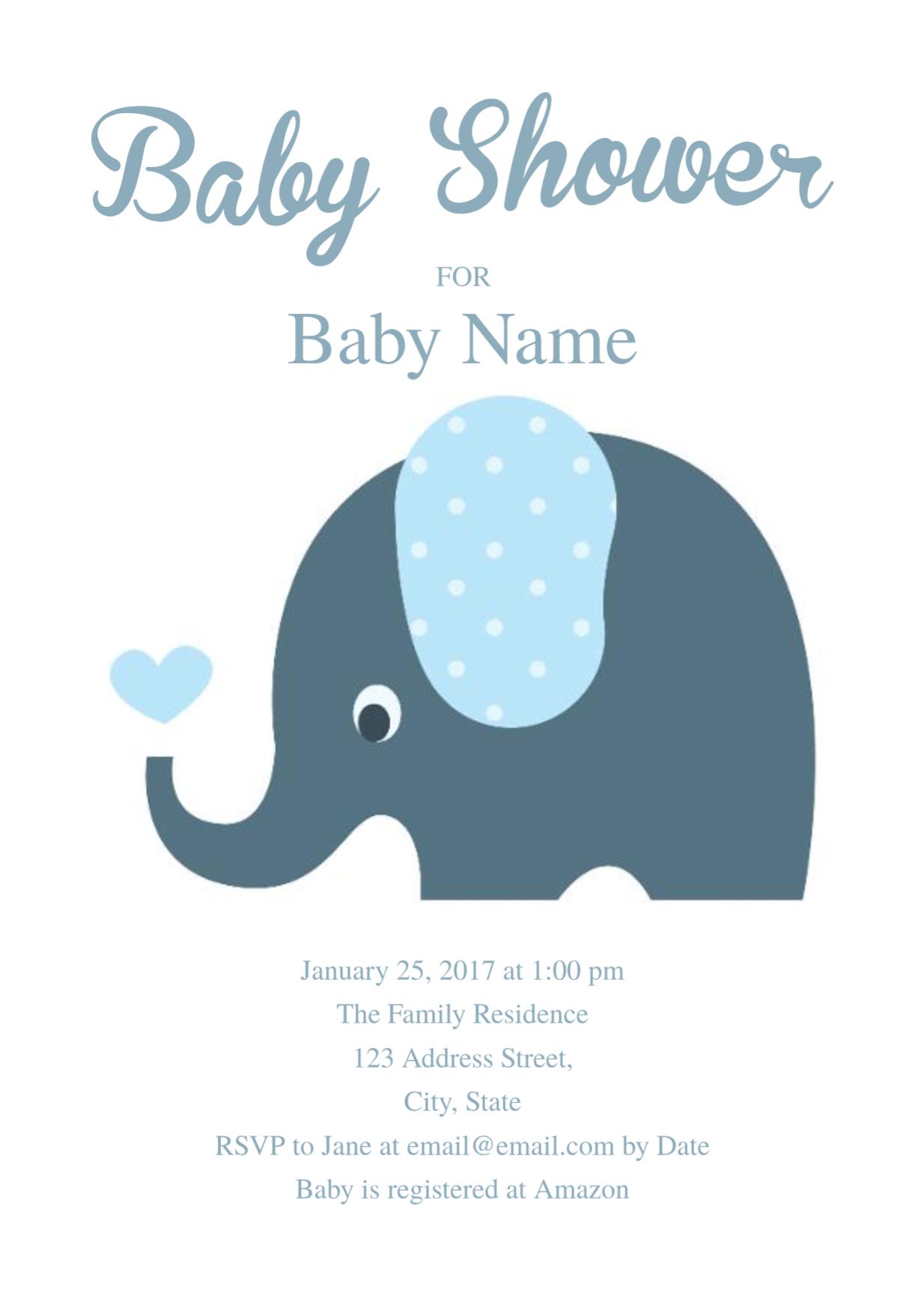 Cute Elephant Baby Shower Invitation Template | Free Invitation - Baby Shower Cards Online Free Printable
