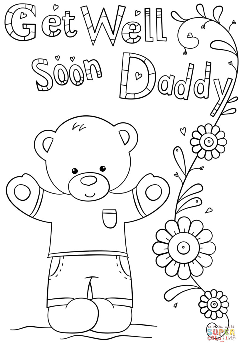 Cute Get Well Soon Coloring Page Free Printable Pages Download Cards - Free Printable Get Well Card For Child To Color