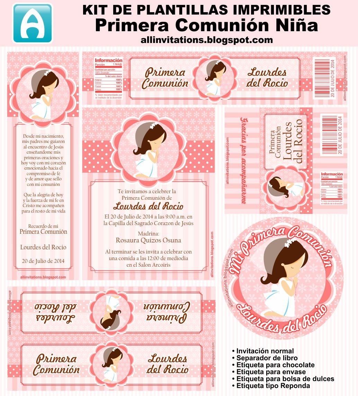 Cute Girl First Communion Free Printable Mini Kit. | Oh My First - First Communion Printables Free