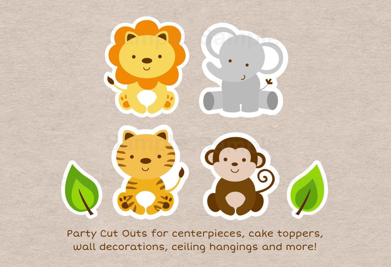 Cute Jungle Safari Animals Party Cutouts Decorations Printable - Free Printable Animal Cutouts