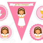 Cute Set Of Printable Elements For First Communion For Girls Royalty   First Communion Printables Free