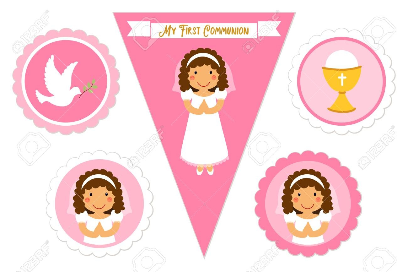 Cute Set Of Printable Elements For First Communion For Girls Royalty - First Communion Printables Free