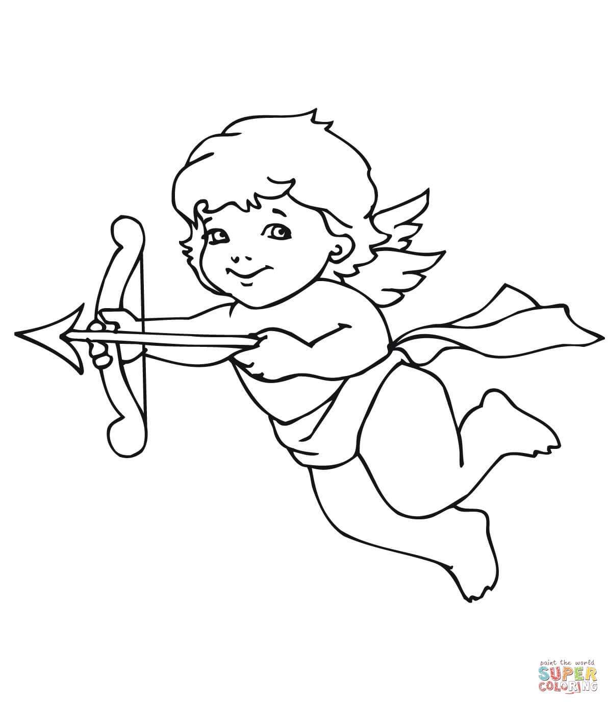 Cute Valentine Cupid Coloring Page   Free Printable Coloring Pages - Free Printable Pictures Of Cupid