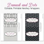 Damask Dot Candy Wrappers, Bridal Shower Favors, Black And White   Free Printable Candy Bar Wrappers For Bridal Shower
