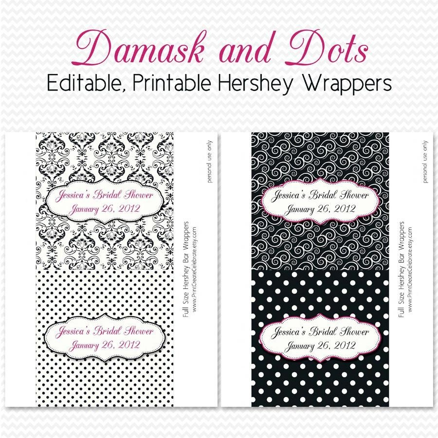Damask Dot Candy Wrappers, Bridal Shower Favors, Black And White - Free Printable Candy Bar Wrappers For Bridal Shower