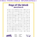 Days Of The Week Word Search   Free Printable Word Search For Kids   Free Printable Days Of The Week