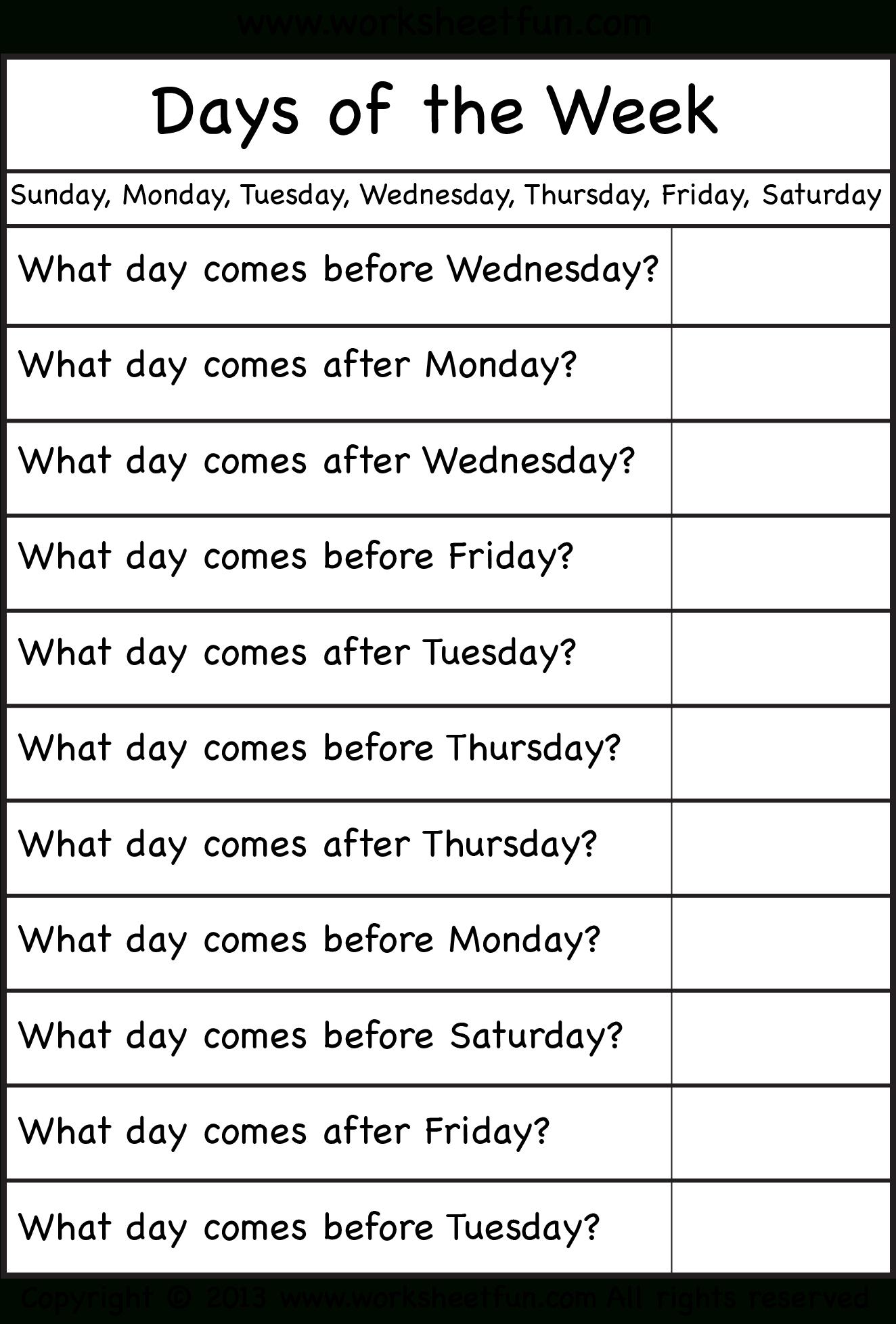 Days Of The Week – Worksheet / Free Printable Worksheets – Worksheetfun - Free Printable Days Of The Week