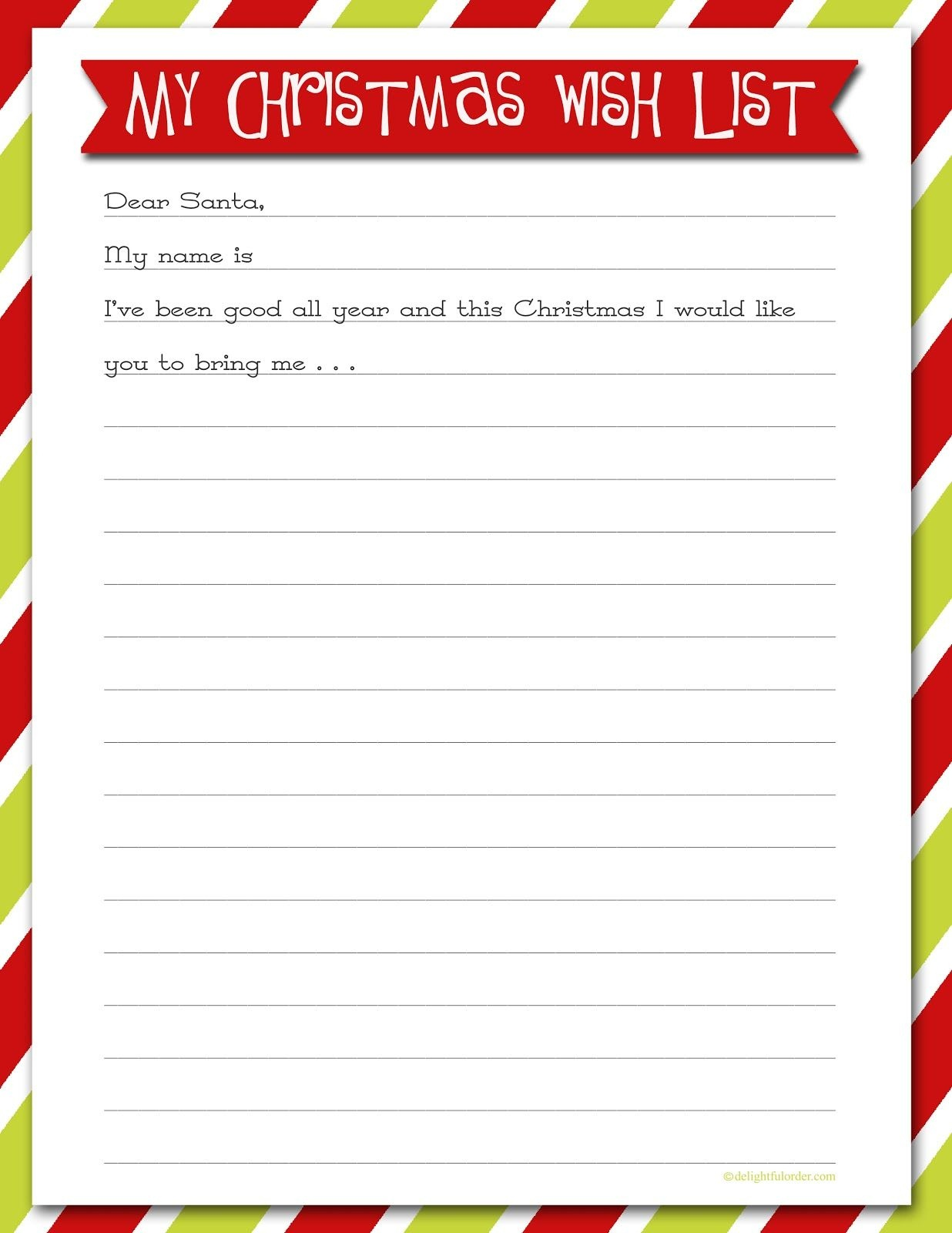 Delightful Order: Christmas Wish List - Free Printable   Delightful - Free Printable Christmas List Maker