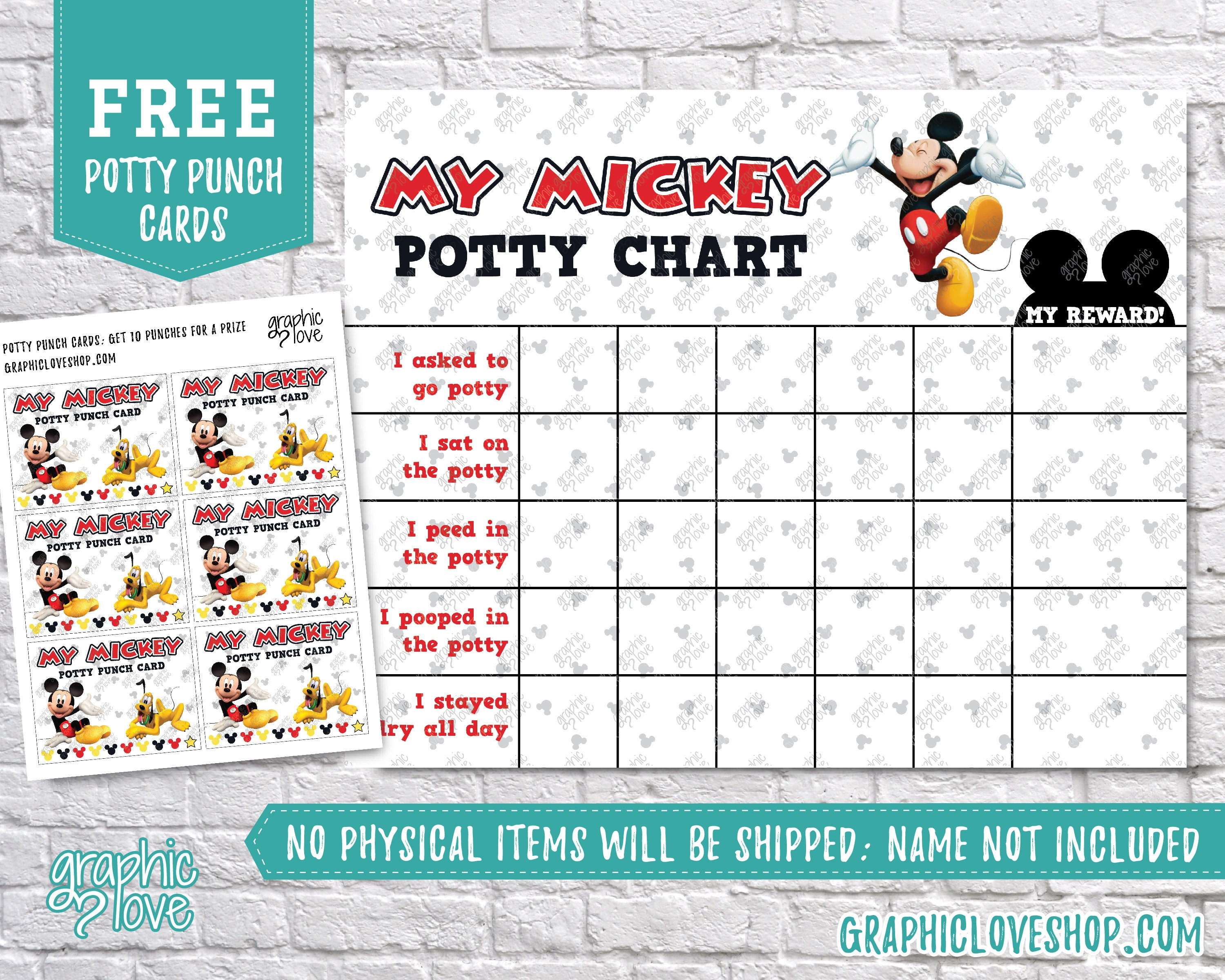Digital Mickey Mouse Potty Training Chart Free Punch Cards | Etsy - Free Printable Minnie Mouse Potty Training Chart