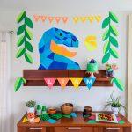 Dinosaur Birthday Party: Geometric Dinosaur Party Decor, Cake   Free Printable Dinosaur Birthday Banner