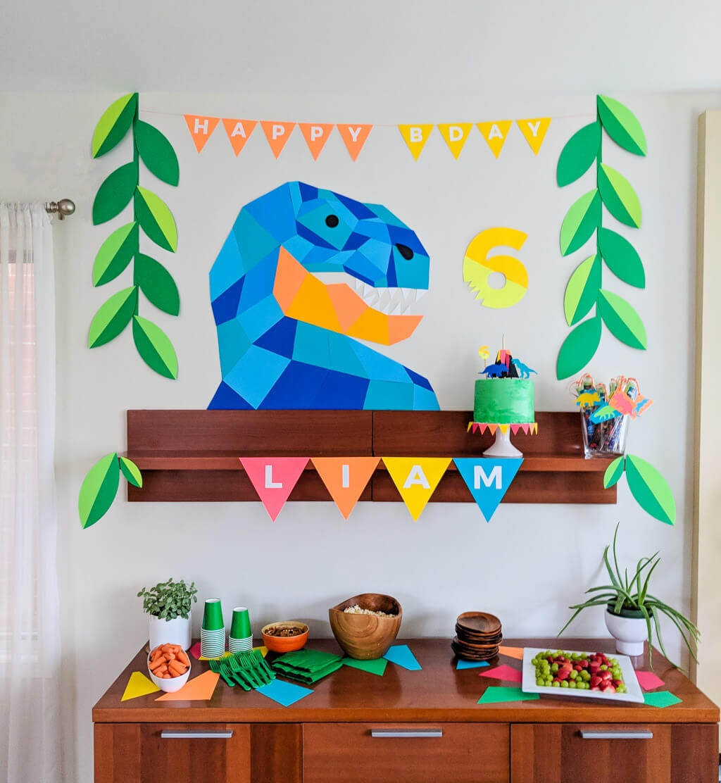 Dinosaur Birthday Party: Geometric Dinosaur Party Decor, Cake - Free Printable Dinosaur Birthday Banner
