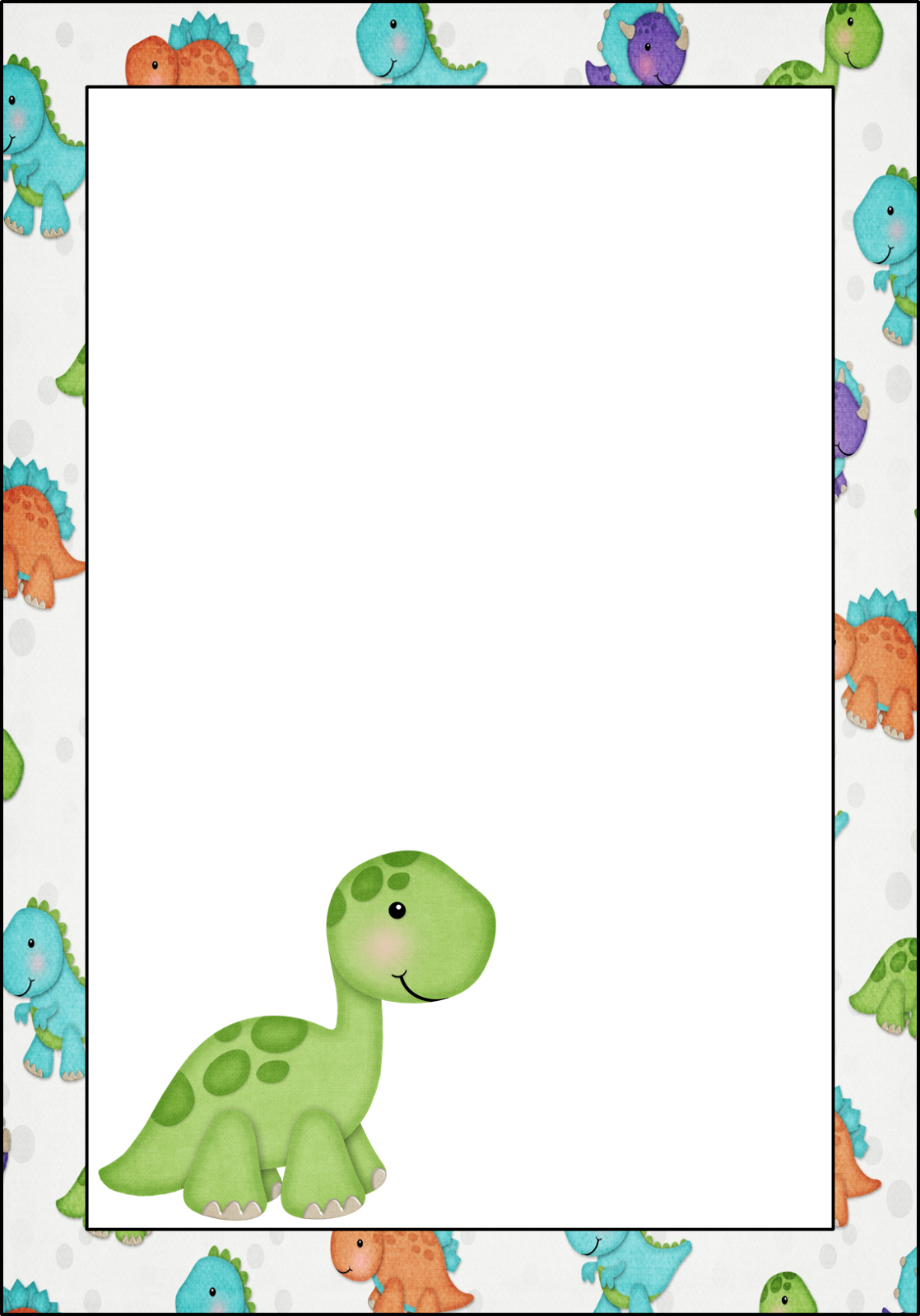 Dinosaur: Free Printable Frames, Invitations, Cards Or Labels - Free Printable Dinosaur Baby Shower Invitations