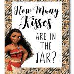 Disney Moana Free Printable Hershey Kiss Stickers, Treat Bag Toppers   How Many Kisses Game Free Printable