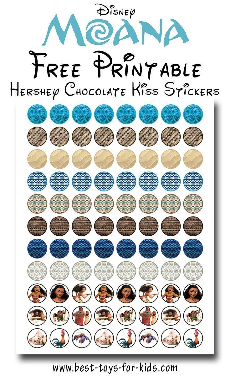 Disney Moana Free Printable Hershey Kiss Stickers, Treat Bag Toppers - Moana Free Printables