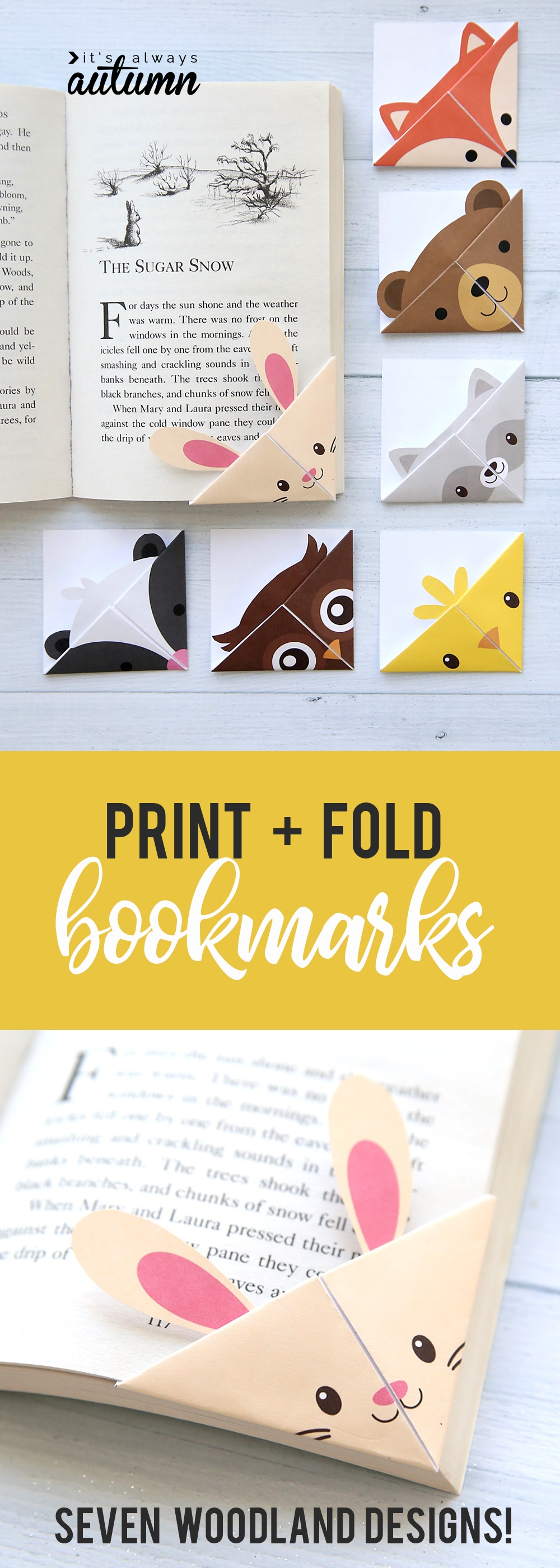 Diy Woodland Animals Origami Bookmarks {Print + Fold} - It's Always - Free Printable Owl Bookmarks
