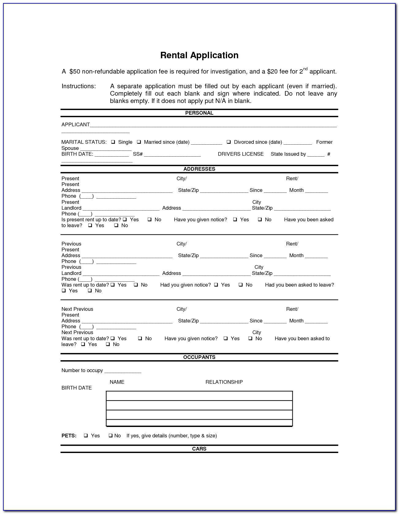 Doc.#592799: Printable Rental Agreement Forms – Free Rental Forms - Free Printable Rental Application Form