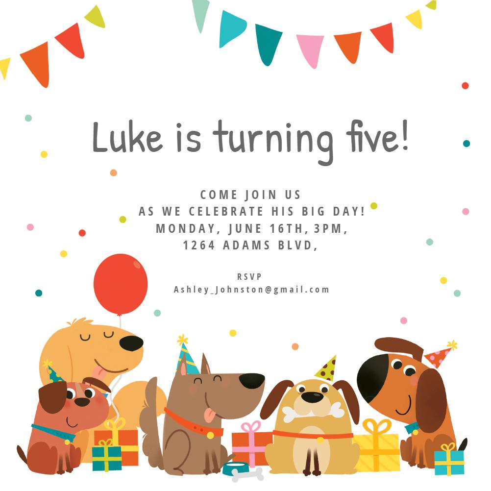 Dog Birthday Invitation Template (Free) | Greetings Island - Free Printable Puppy Dog Birthday Invitations