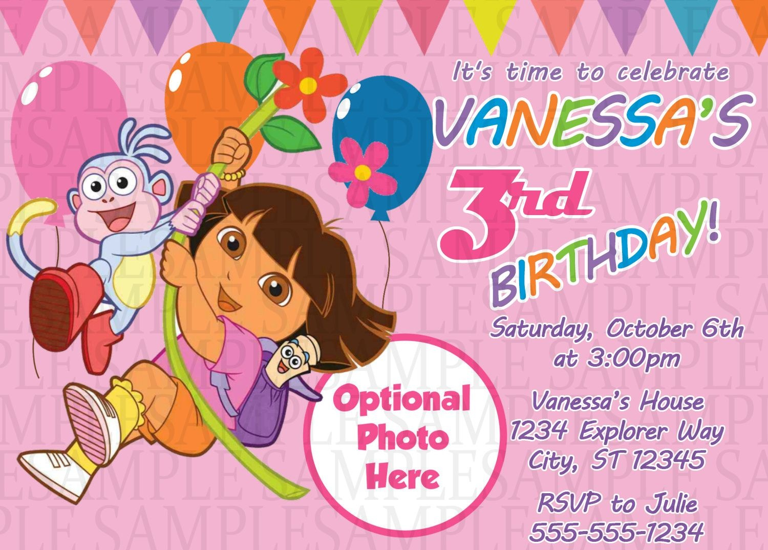 Dora The Explorer Birthday Invitation $11 | Kids Birthday - Dora Birthday Cards Free Printable