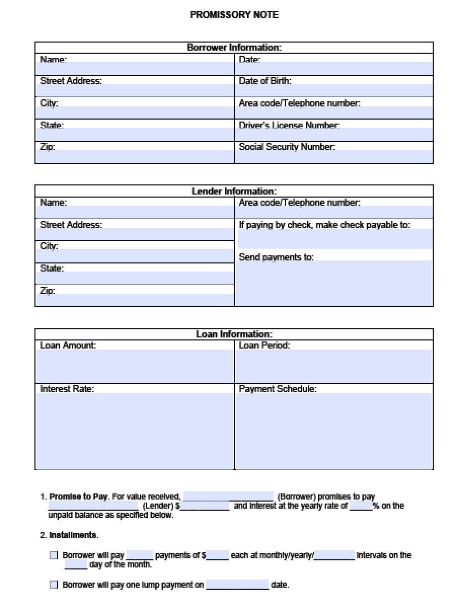 Download Blank Promissory Note Template | Pdf | Rtf | Word - Free Printable Promissory Note Pdf
