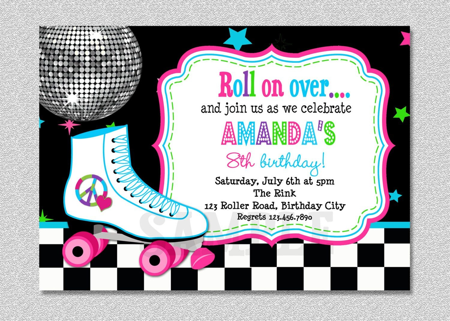 Download Free Template Free Printable Roller Skating Birthday Party - Free Printable 80S Birthday Party Invitations
