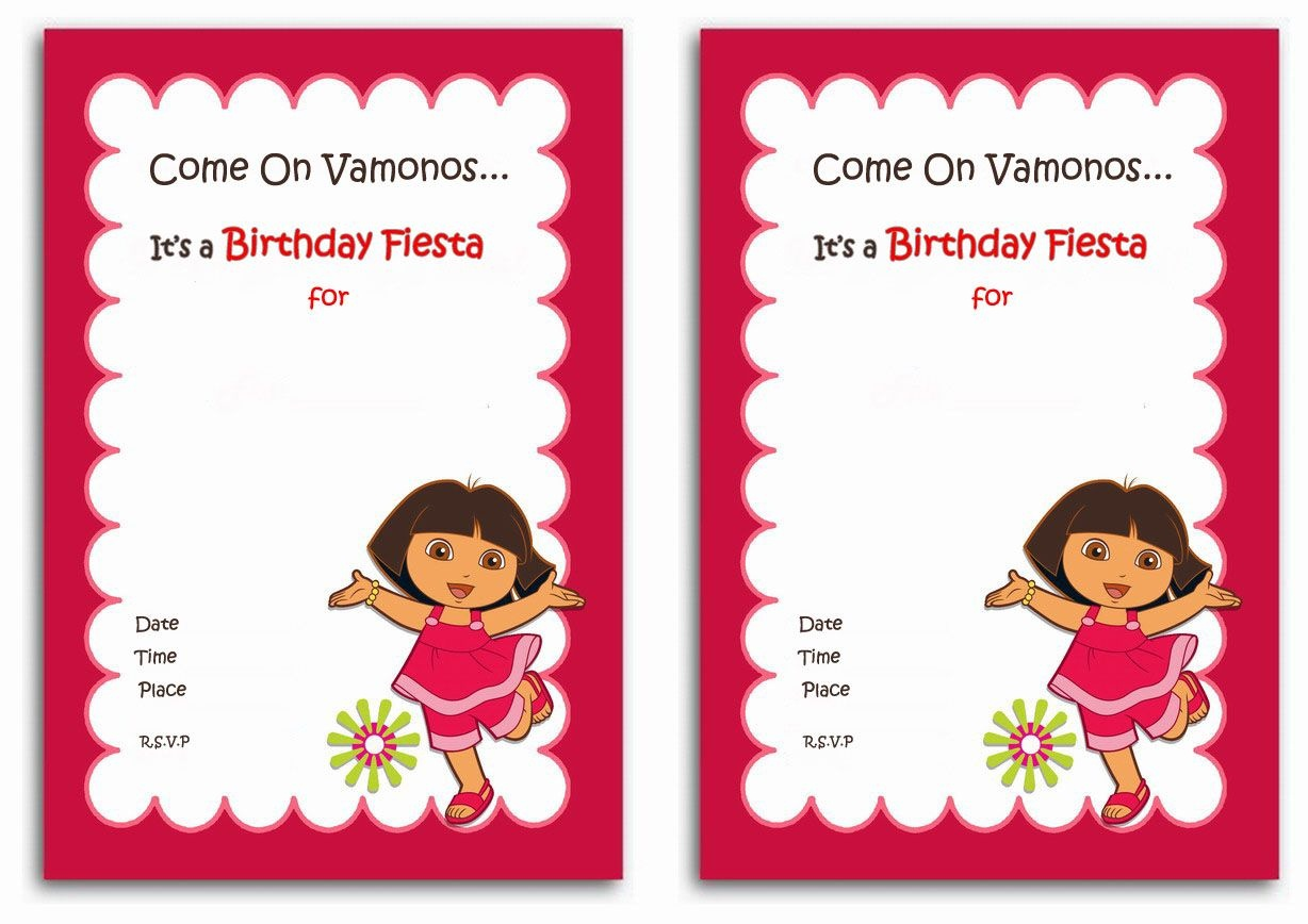 Download Now Free 1St Dora Birthday Invitations Wording | Bagvania - Dora Birthday Cards Free Printable