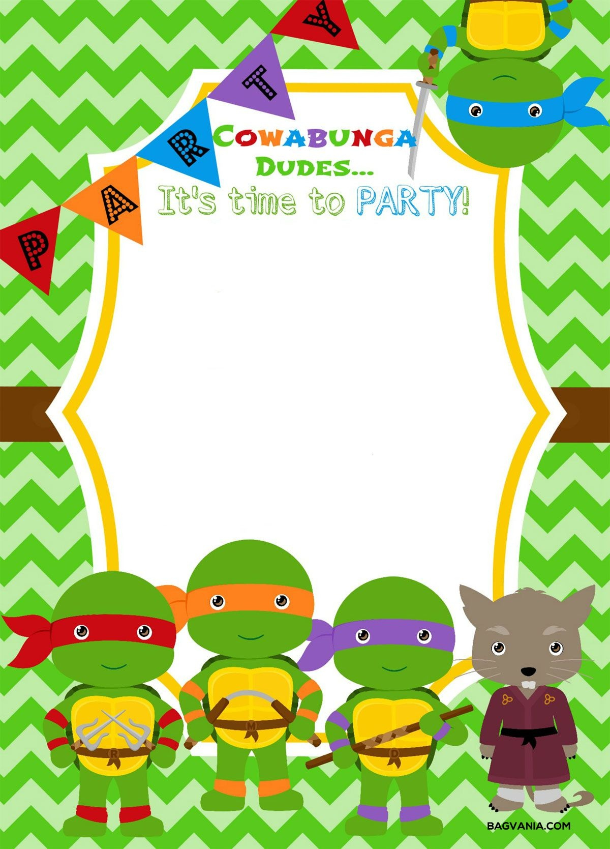 Download Now Free Printable Ninja Turtle Birthday Party Invitations - Free Printable Ninja Turtle Birthday Invitations