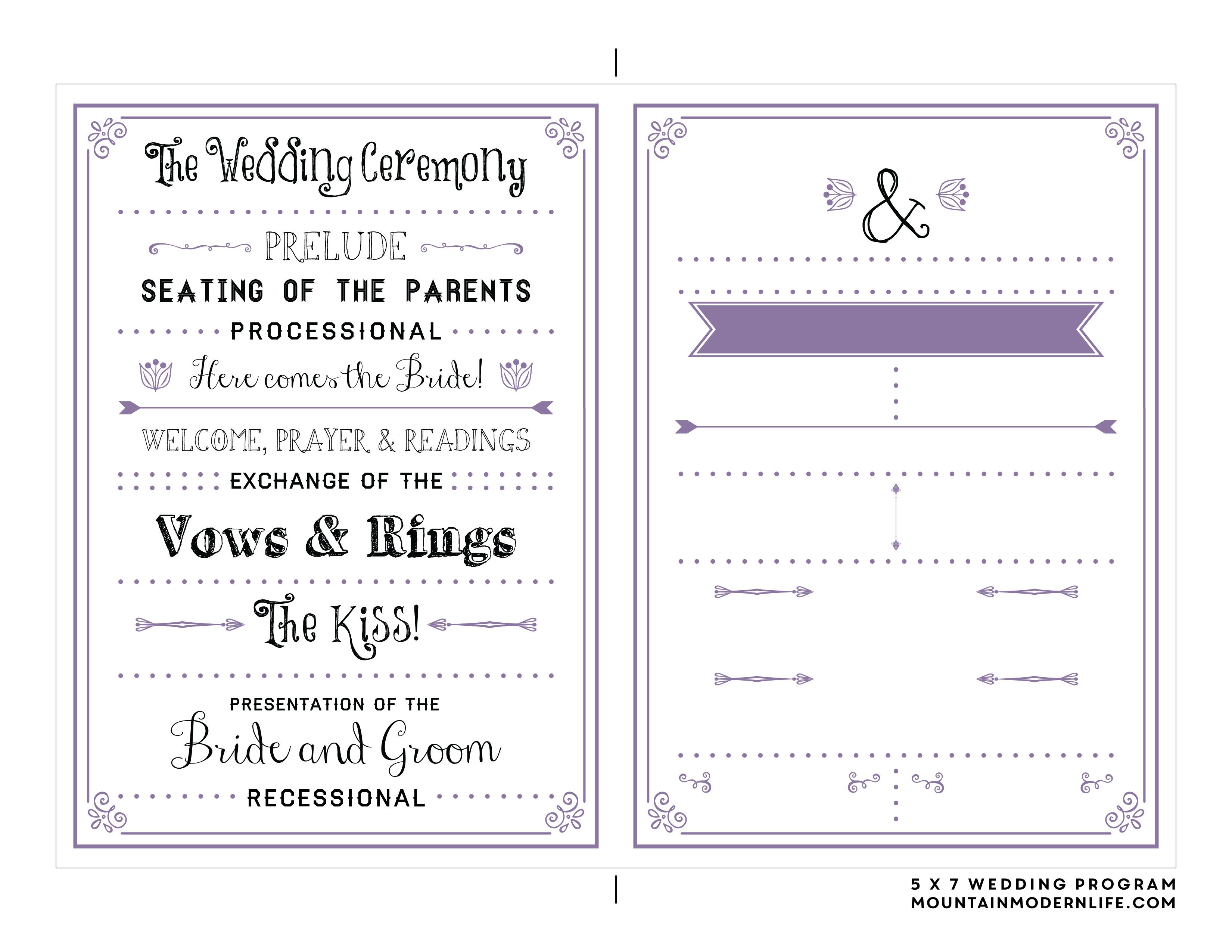 Downloadable Wedding Program Templates Free - Kaza.psstech.co - Free Wedding Printables Templates