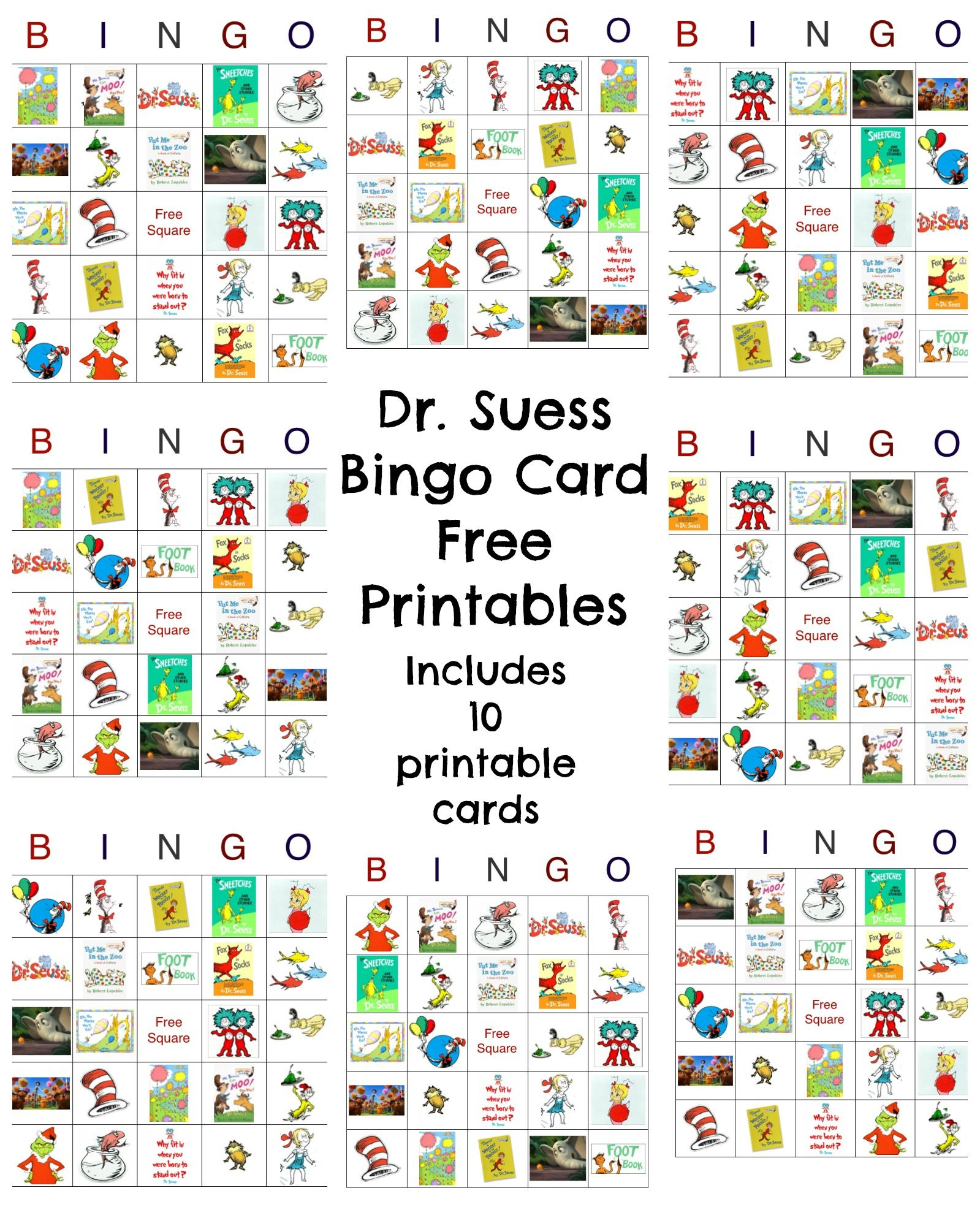 Dr Seuss Bingo Game Free Printable | Best Crafts And Diy | Dr Seuss - Free Printable Dr Who Birthday Card