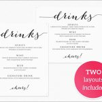 Drink Menu Template Free Best Of Drinks Menu Template · Wedding   Free Printable Drink Menu Template