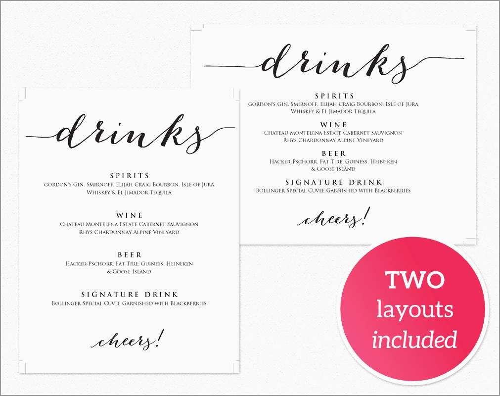 Drink Menu Template Free Best Of Drinks Menu Template · Wedding - Free Printable Drink Menu Template