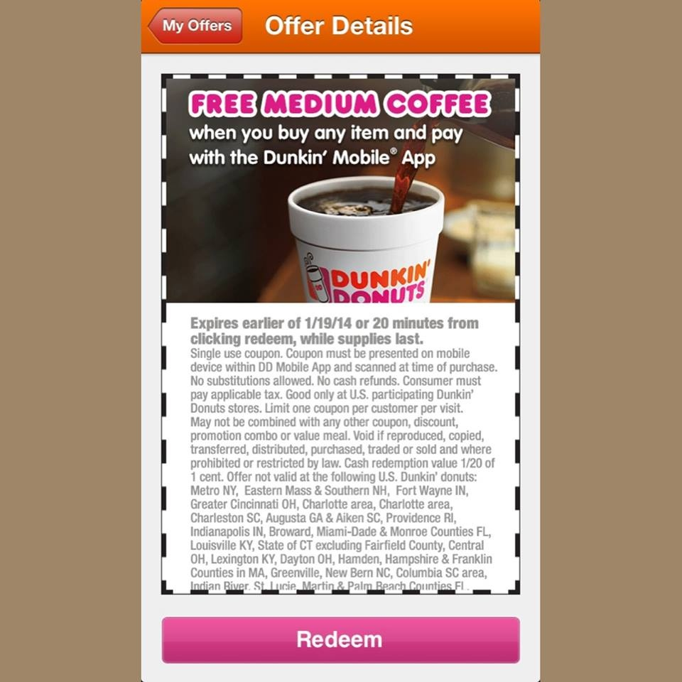 Dunkin Donuts Coupons Jan - Feb | Printable Coupons Online - Free Coffee Coupons Printable