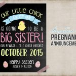 Easter Big Sister Pregnancy Announcement Printable Card Sign | Etsy   Free Birth Announcements Printable