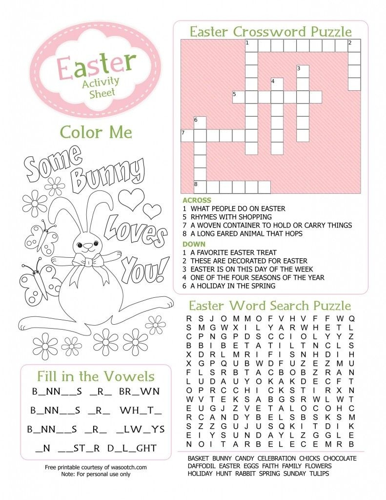 Easter Kids Activity Sheet Free Printable From Wasootch 791X1024 - Free Printable Activities For Kids